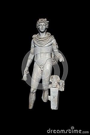 Estátua do deus grego Hermes com trajeto