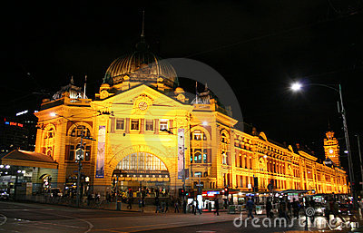 Estação Melbourne Austrália do Flinders Foto Editorial