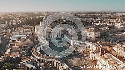Establecimiento del tiro aéreo de la Ciudad del Vaticano El cuadrado de San Pedro apretado almacen de metraje de vídeo