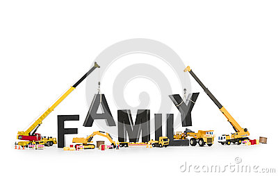 Establish a family: Machines building family-word.