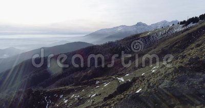 Establisher aéreo dianteiro do voo do zangão sobre madeiras da floresta com montanhas e planos no inverno Neve no natur da montan filme