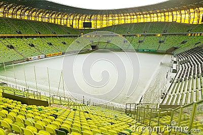 Estadio vacío de la arena de PGE en Gdansk Foto de archivo editorial