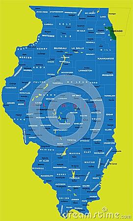 Estado de mapa político de Illinois