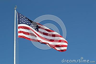 Estados Unidos grandes señalan horizontal por medio de una bandera