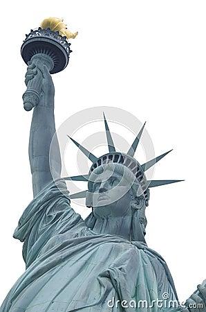 Estatua de la libertad sobre blanco