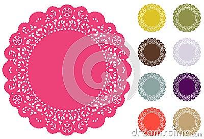 Esteiras de lugar do Doily do laço, cores da forma de Pantone
