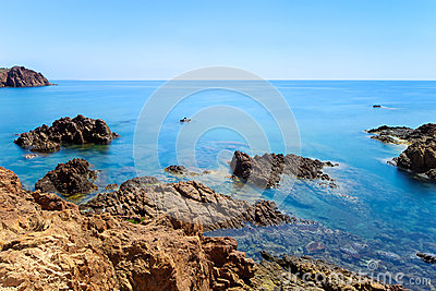 Esterel rock coast. Cote Azur, Provence, France.