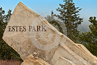 Estes Park Colorado Carved Sign Editorial Image