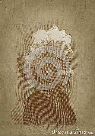 Estilo del grabado del retrato de la sepia de Mark Twain Foto de archivo editorial