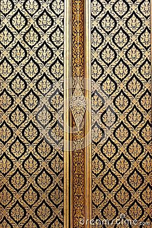 Estilo tailandês ingénuo da laca preta dourada