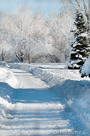 Estrada coberto de neve
