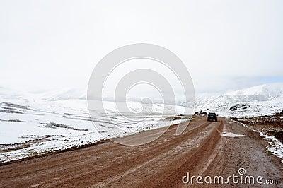 Estrada gelada da montanha Imagem Editorial