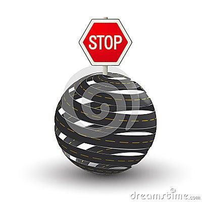 Estradas 3D e sinal da parada