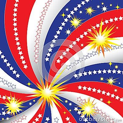 Estrelas, listras, fogos-de-artifício
