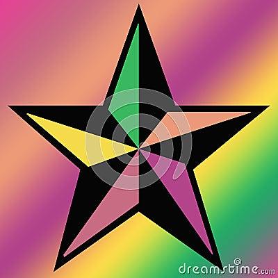 Estrella coloreada en fondo cuadrado