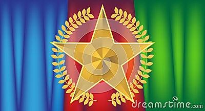 Estrella del oro con la pañería