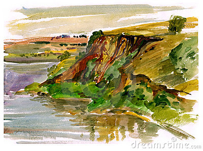 Estuary, watercolor