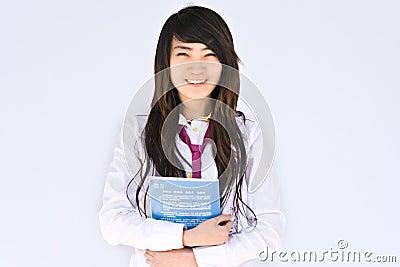 Estudante asiático do famale