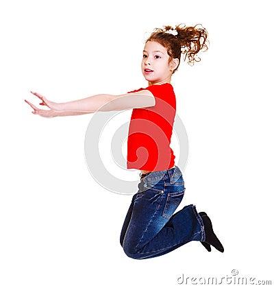 Estudante no salto vermelho