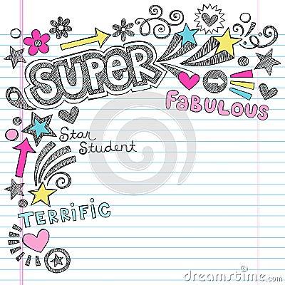 Estudante super Praise Back ao caderno Doodl da escola