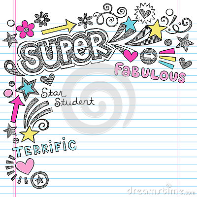 Estudiante estupendo Praise Back al cuaderno Doodl de la escuela
