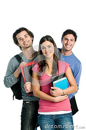 Estudiantes felices sonrientes