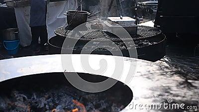 Estufas grandes para la barbacoa almacen de video