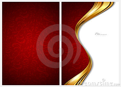 Or et fond, avant et dos abstraits rouges