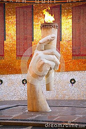 Eternal fire in the memorial in Volgograd