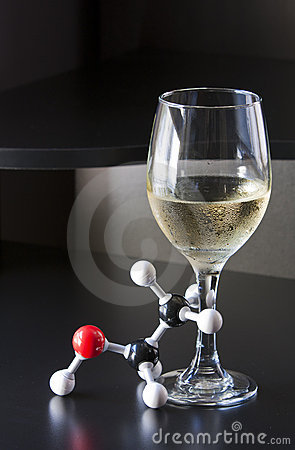 Ethanol molecule and wine