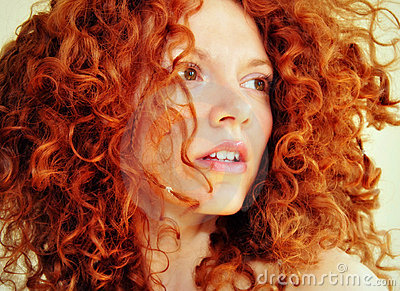 Ethereal Young Women With Red Curly Hair Stock Image - Image: 14235771