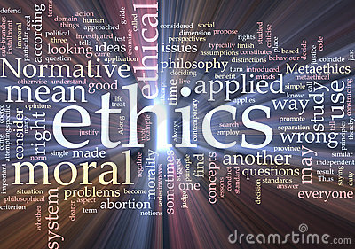 Ethics word cloud glowing