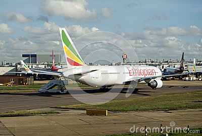 Ethiopian Airlines plane at Heathrow Airport Editorial Photography