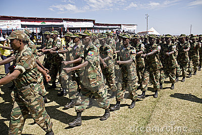 Ethiopian Army Soldiers Marching Editorial Image