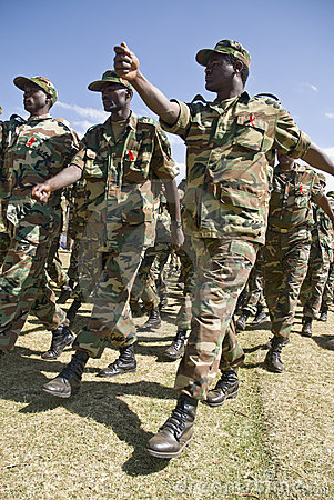 Ethiopian Army Soldiers Marching Editorial Stock Photo
