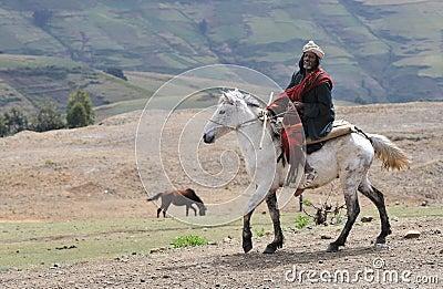 Ethiopian Horse Rider Editorial Image
