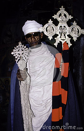 Ethiopian Orthodox Priest with Cross Editorial Photography