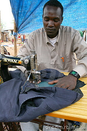 Ethiopian tailor on an African market Editorial Image