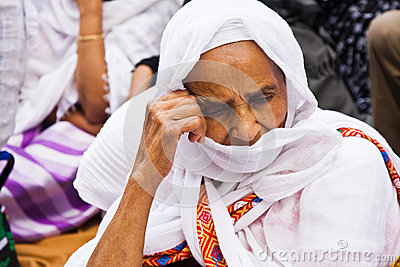 Ethiopian woman praying duting Easter celebrations Editorial Stock Image