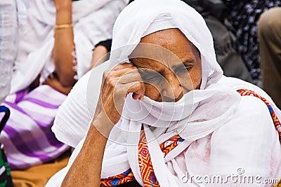 Ethiopian woman praying duting Easter celebrations Editorial Stock Image