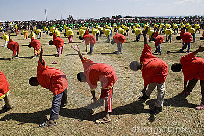 Ethiopian youth Perfoming Exercises Editorial Stock Image