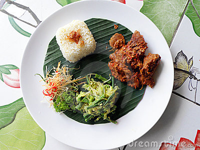 Ethnic asian food, beef curry rendang