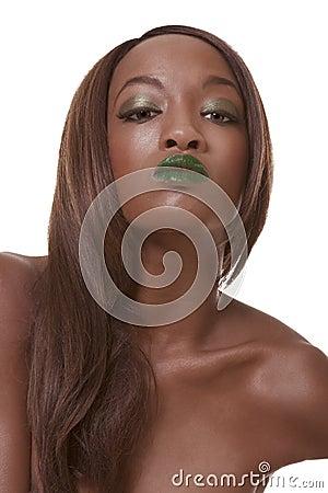 Ethnic black woman in extravaganza makeup