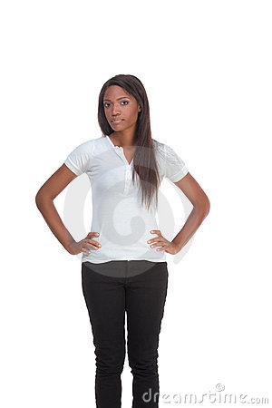 Ethnic Black Young Woman In Jeans White T Shirt Royalty