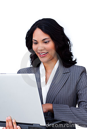 Ethnic businesswoman surfing the internet