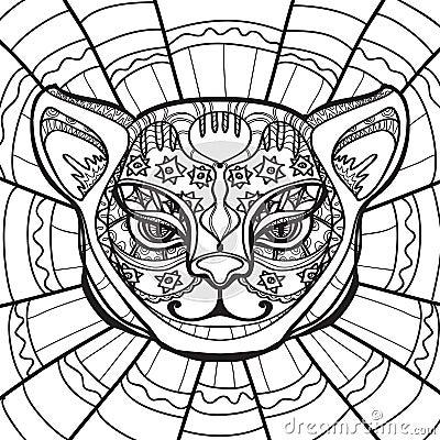 Ethnic Cat Cat Head Hand Drawn Illustration In Zentangle