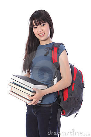 Ethnic college student girl with education books