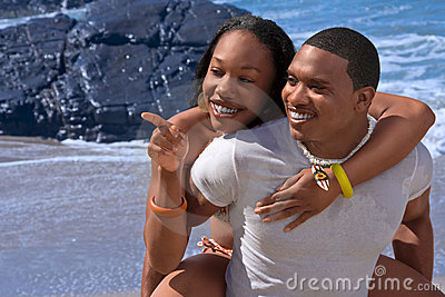 Ethnic couple Happy on beach