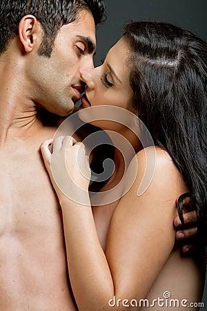 Ethnic couple kissing