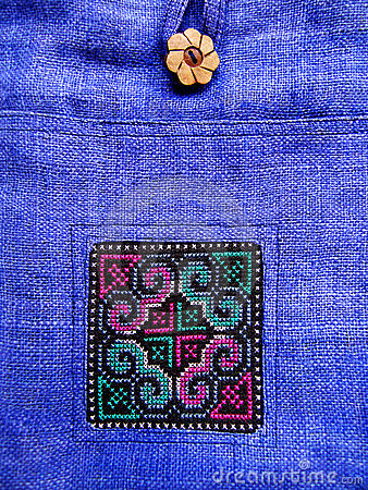 Ethnic cross stitch pattern on bag